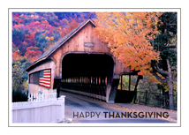 Covered Bridge and American Flag Thanksgiving Card